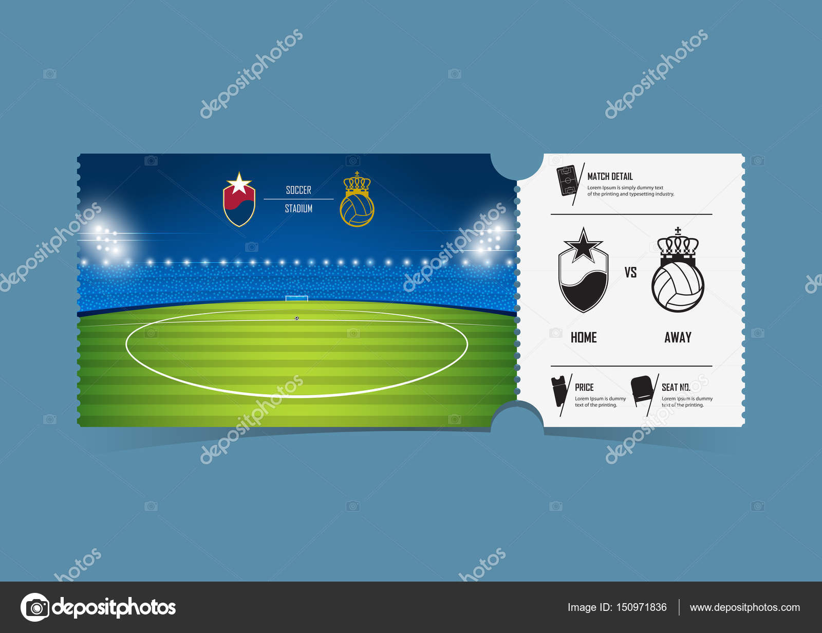 Football or soccer ticket template design for sport match. Soccer.