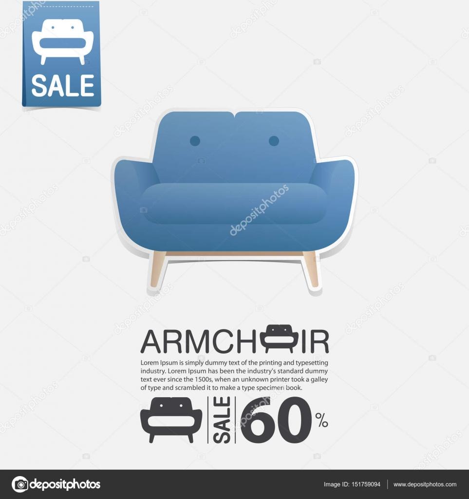 Sessel Im Flat Design Für Wohnzimmer Interieur. Minimale Symbol Für Möbel  Verkaufsposter. Blauer Stuhl