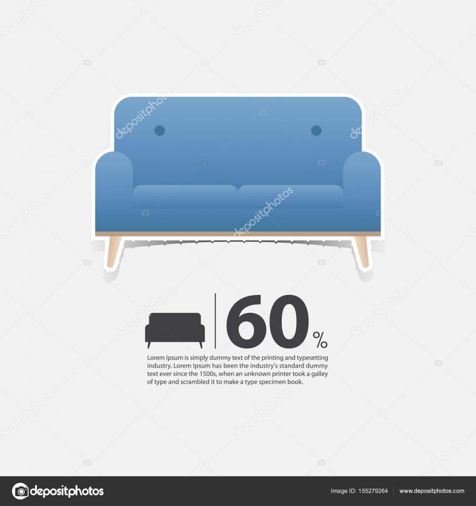 Sofa Im Flat Design Für Wohnzimmer Interieur. Minimale Couch Symbol Für  Möbel Verkaufsposter. Blaue Couch Auf Weißem Hintergrund In Papier Art Stil.