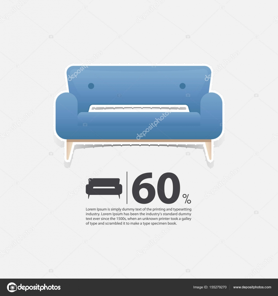 Sofa In Flat Design For Living Room Interior Minimal Couch Icon For Furniture Sale Poster Blue Couch On White Background In Paper Art Style Vector Vector Image By Tond Ruangwit Gmail Com