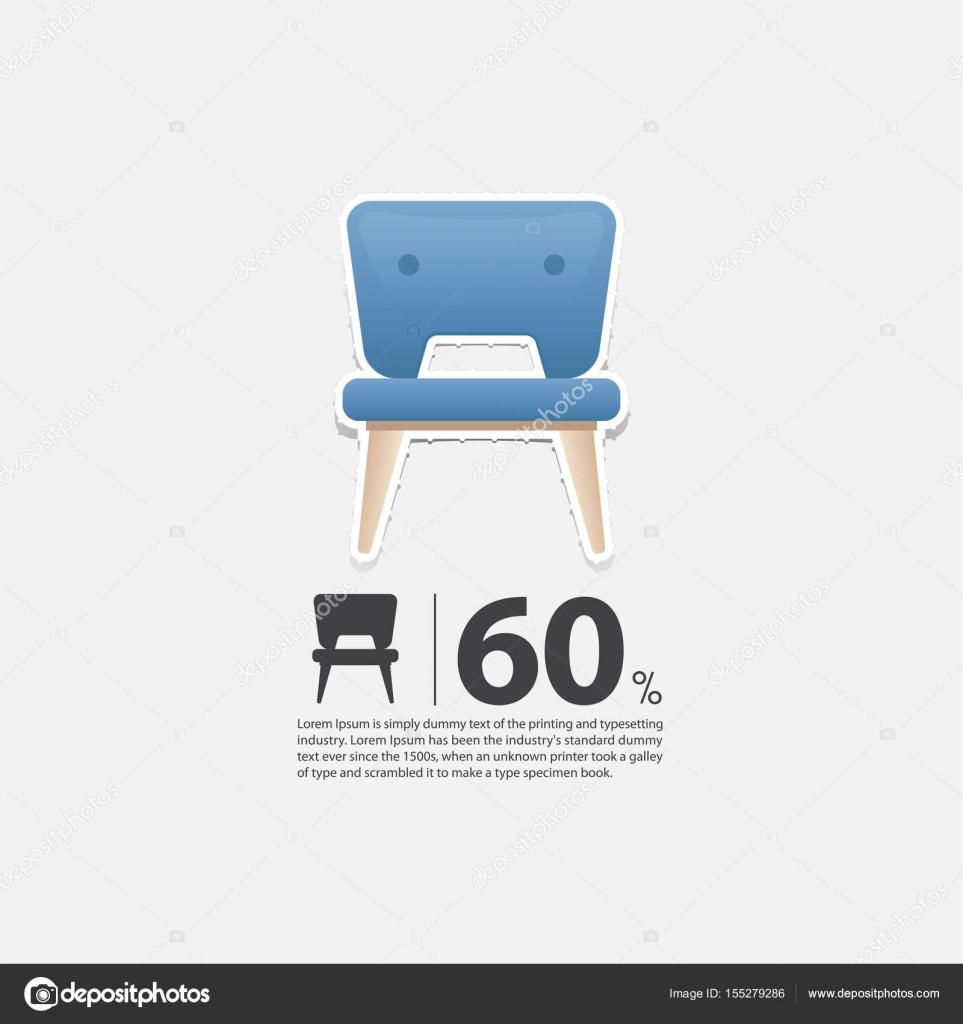 Stuhl Im Flat Design Für Wohnzimmer Interieur. Minimale Stuhl Ikone Für  Möbel Verkaufsposter.