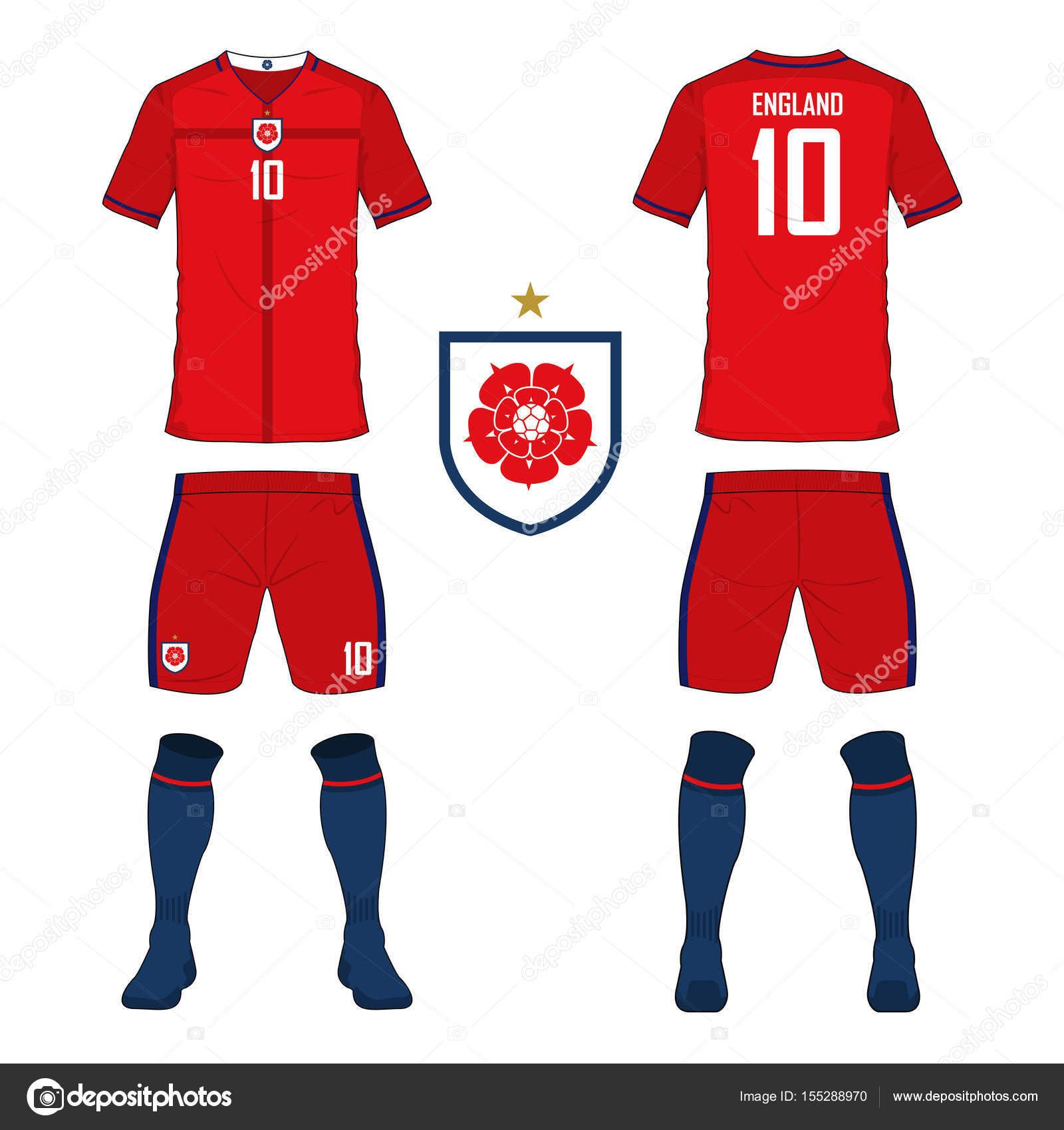 official photos fd581 3b901 Soccer jersey or football kit template for England national ...
