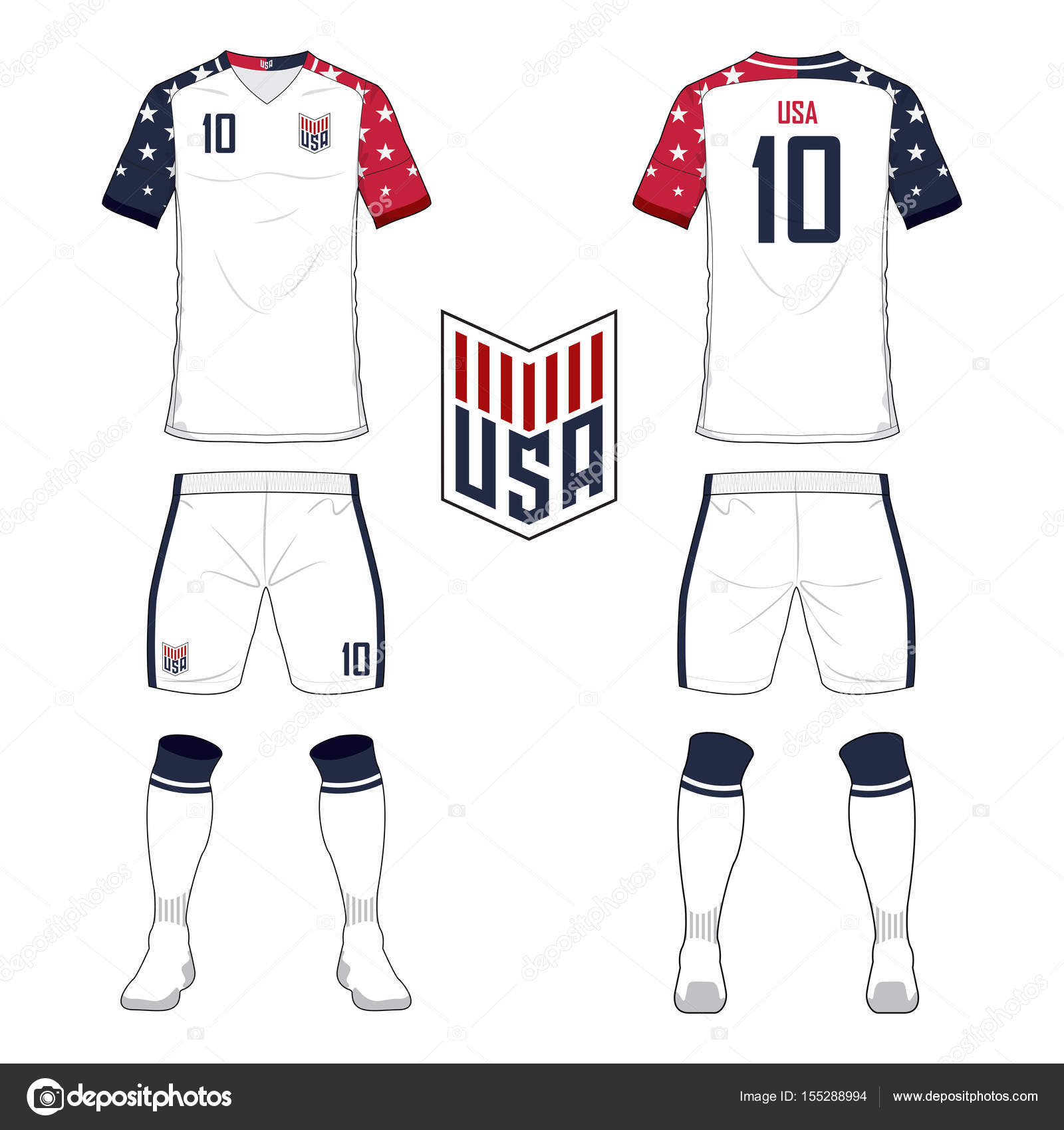 Soccer Jersey Or Football Kit Template For United States Of America National Team Front