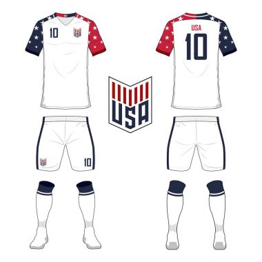 soccer jersey or football kit template for United States of America national football team. Front and back view soccer uniform. Sport shirt mock up. Vector.