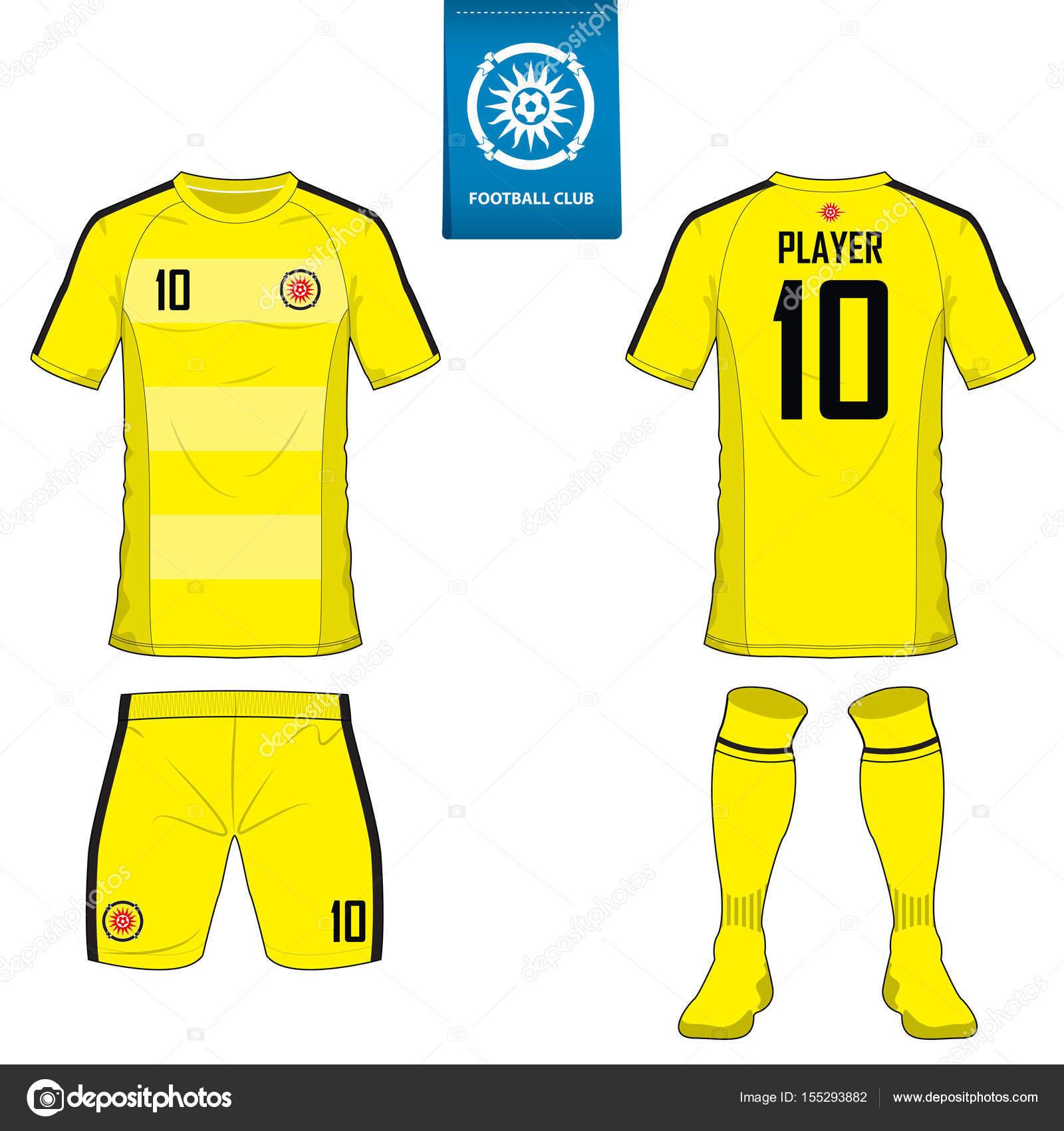 Conjunto de la plantilla de fútbol kit o del balompié de jersey para club  del balompié. Camiseta fútbol manga corta imitan para arriba. 602c14e654c3e