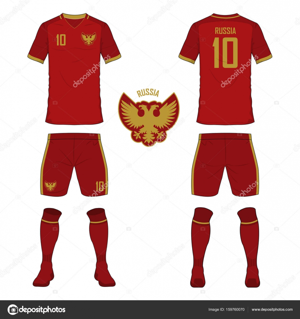665aa2b9f53 Set of soccer jersey or football kit template for Russia national football  team. Front and back view soccer uniform. Sport shirt mock up.