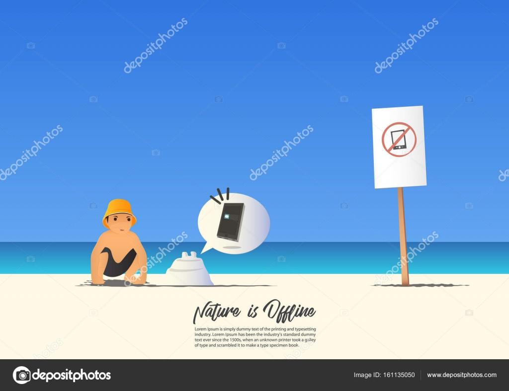 Paesaggio Della Spiaggia Estate Con Kid E No Cellulare Su Sfondo Blu