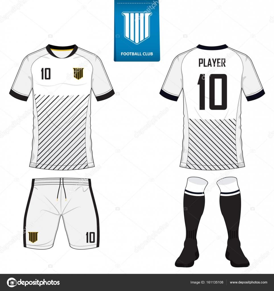 47f77370a2 Conjunto de manga curta futebol jersey ou futebol kit modelo para clube de  futebol. Camisa de futebol simulada acima. Frente e para trás