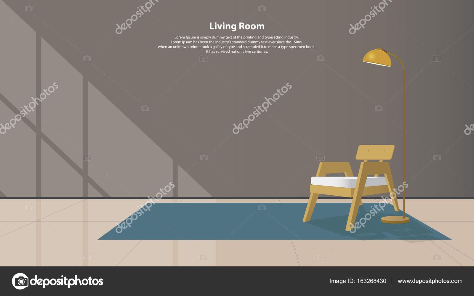 Home Interior Design Mit Möbeln. Modernes Wohnzimmer Mit Holz Sessel,  Lampen Und Teppiche Im