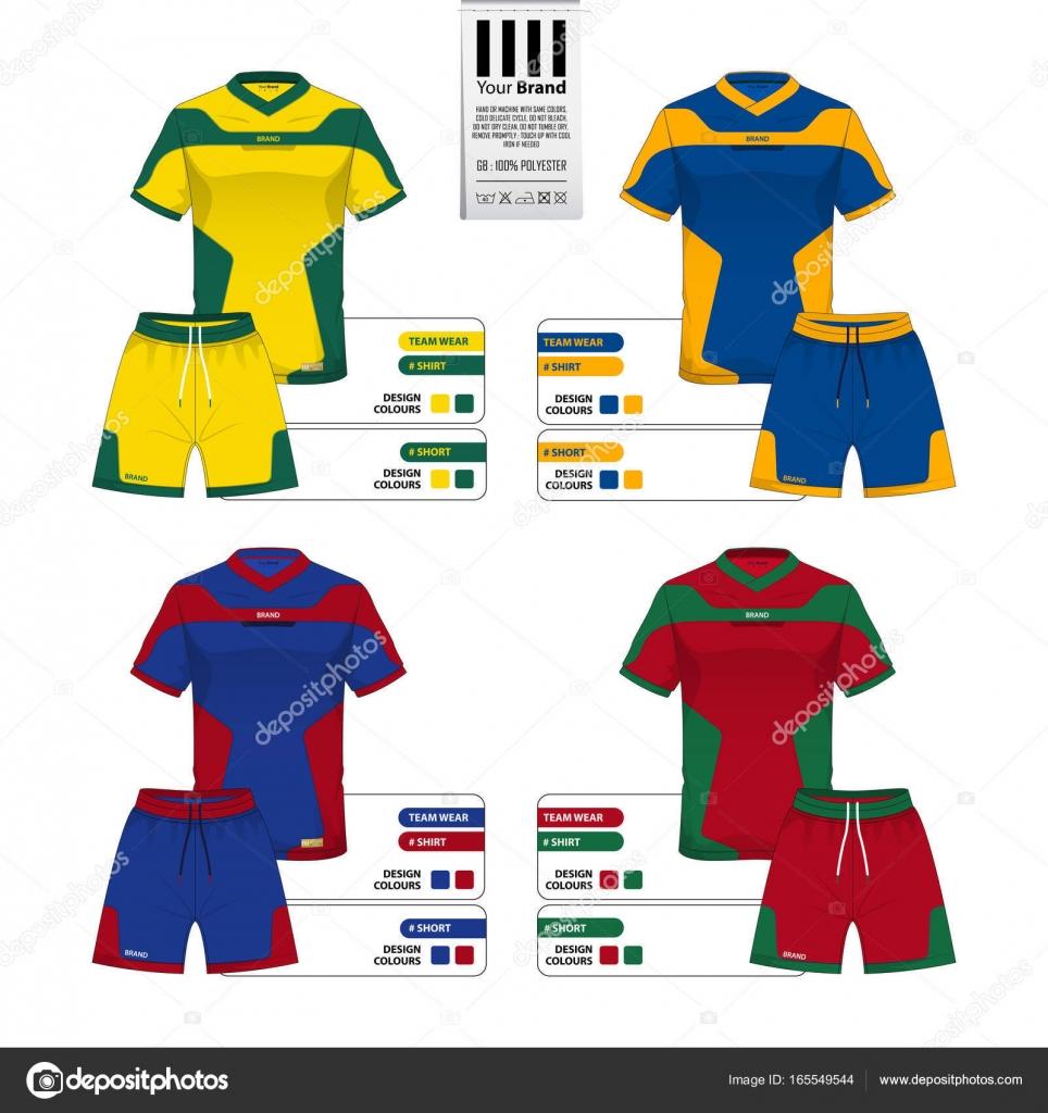 Conjunto de futebol jersey ou futebol kit e calça curta modelo para  catálogo de roupas esportivas. Camisa de sportswear simulada acima. 85baf54fb7f7c