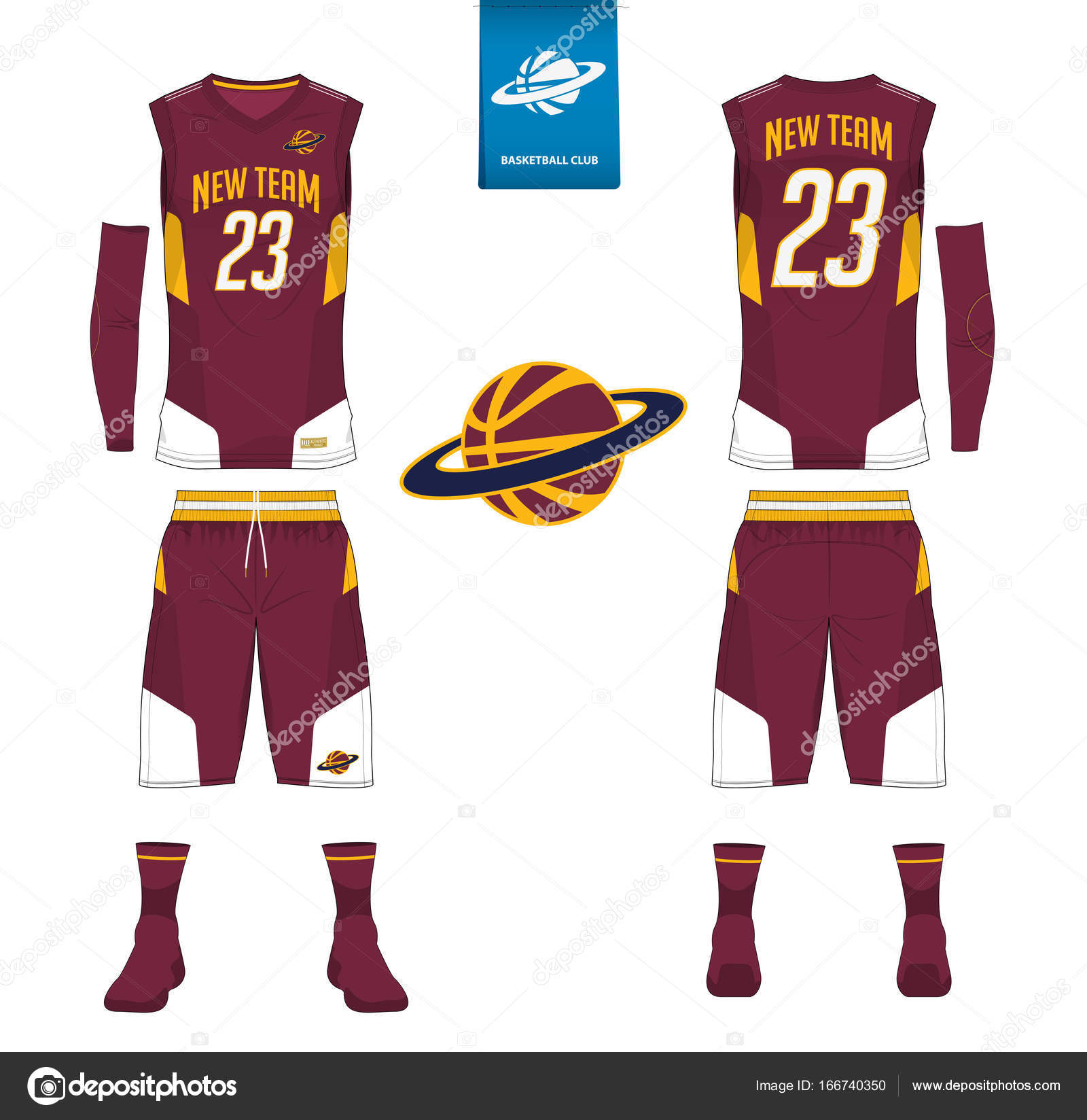 Front and back view sport uniform. Tank top t-shirt mock up with basketball  flat logo design on label. Vector Illustration. 69a7dc4f4