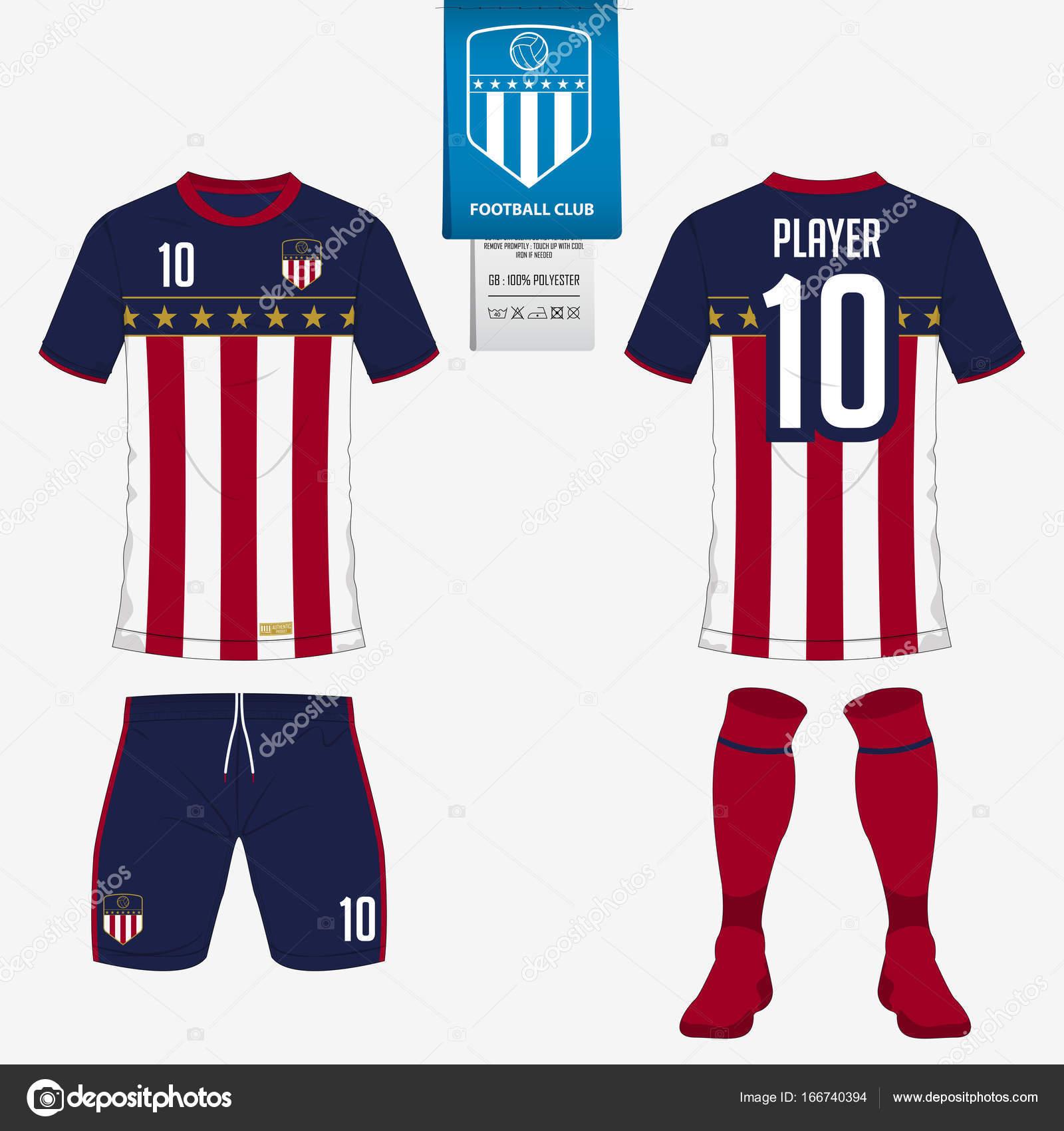 b96d0e89a8208 Futebol jersey ou futebol kit modelo para clube de futebol. Manga curta  futebol t-shirt mock up. Frente e para trás