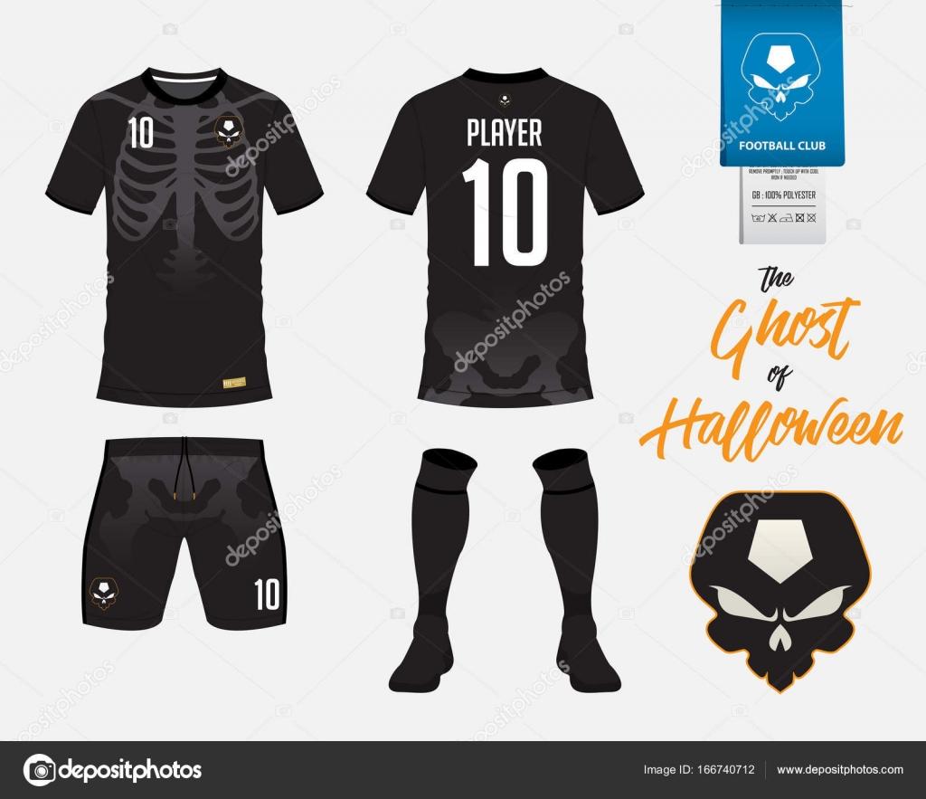 Fútbol jersey fútbol kit plantilla o en esqueleto en concepto de Halloween.  Fútbol camiseta imitan para arriba. Frente y parte posterior vista uniforme  del ... 1b14dc3b9c4a4