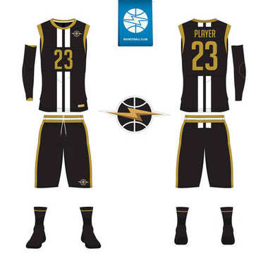 Basketball jersey, shorts, socks template for basketball club. Front and back view sport uniform. Tank top t-shirt mock up with basketball flat logo design on label. Vector.