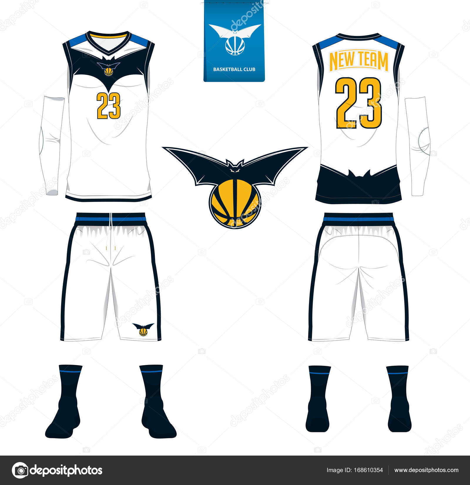 28031d4391b Basketball jersey, shorts, socks template for basketball club. Front and  back view sport uniform. Tank top t-shirt mock up with basketball flat logo  design ...