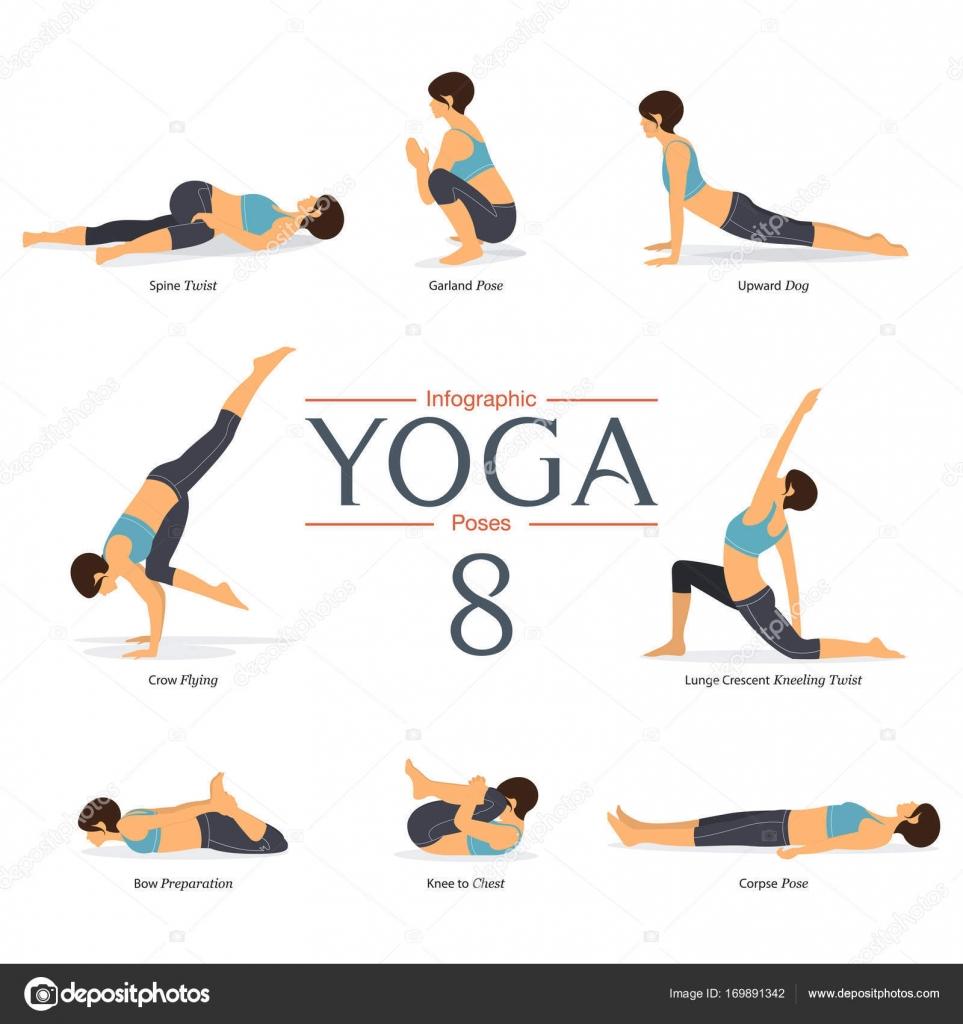 Ensemble de 8 poses d\'yoga au design plat. Figures de femme exercent ...