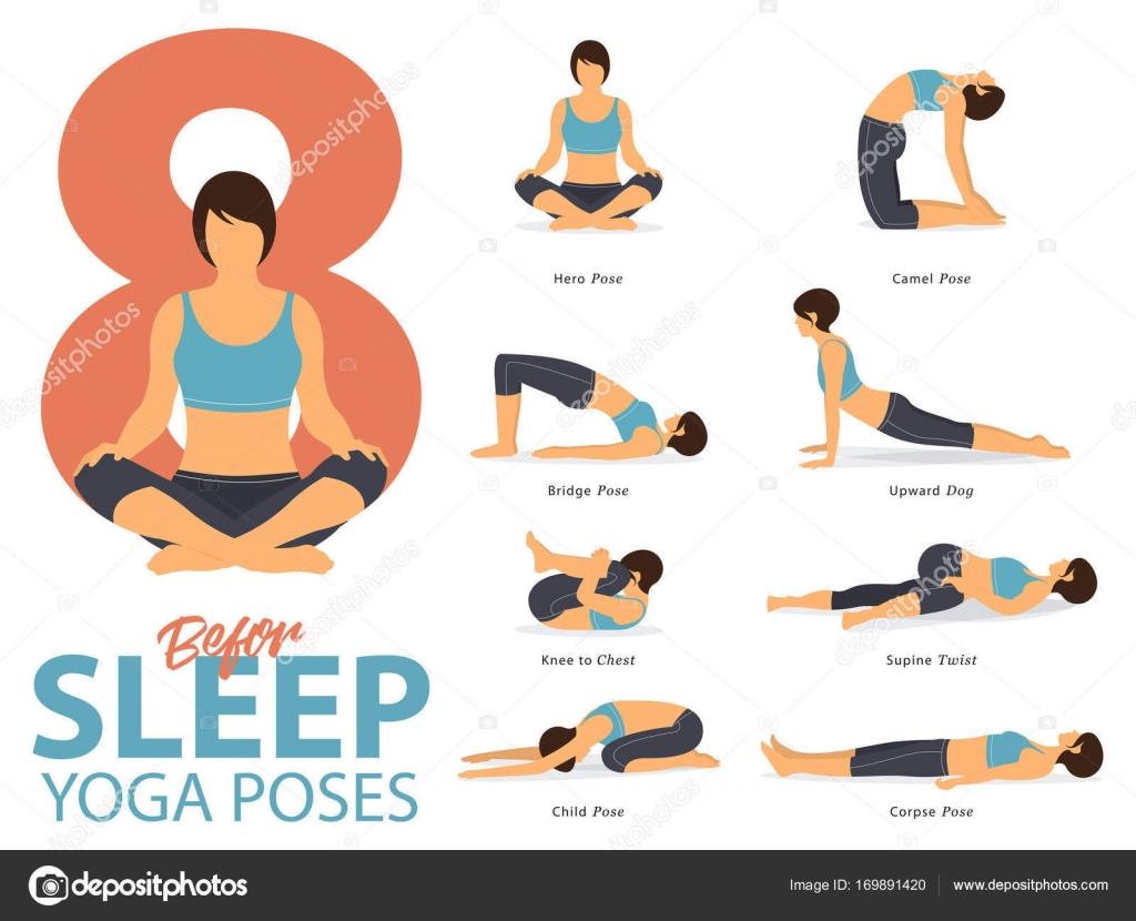 Un ensemble de figures féminines d\'yoga postures de Yoga 8 ...
