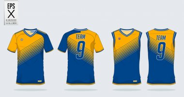 T-shirt sport design template for soccer jersey, football kit and tank top for basketball jersey. T-shirt uniform in front view and back view. Sportswear t shirt mock up for sport club. Vector