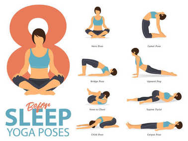 A set of yoga postures female figures for Infographic 8 Yoga poses for exercise before sleep in flat design. Vector.