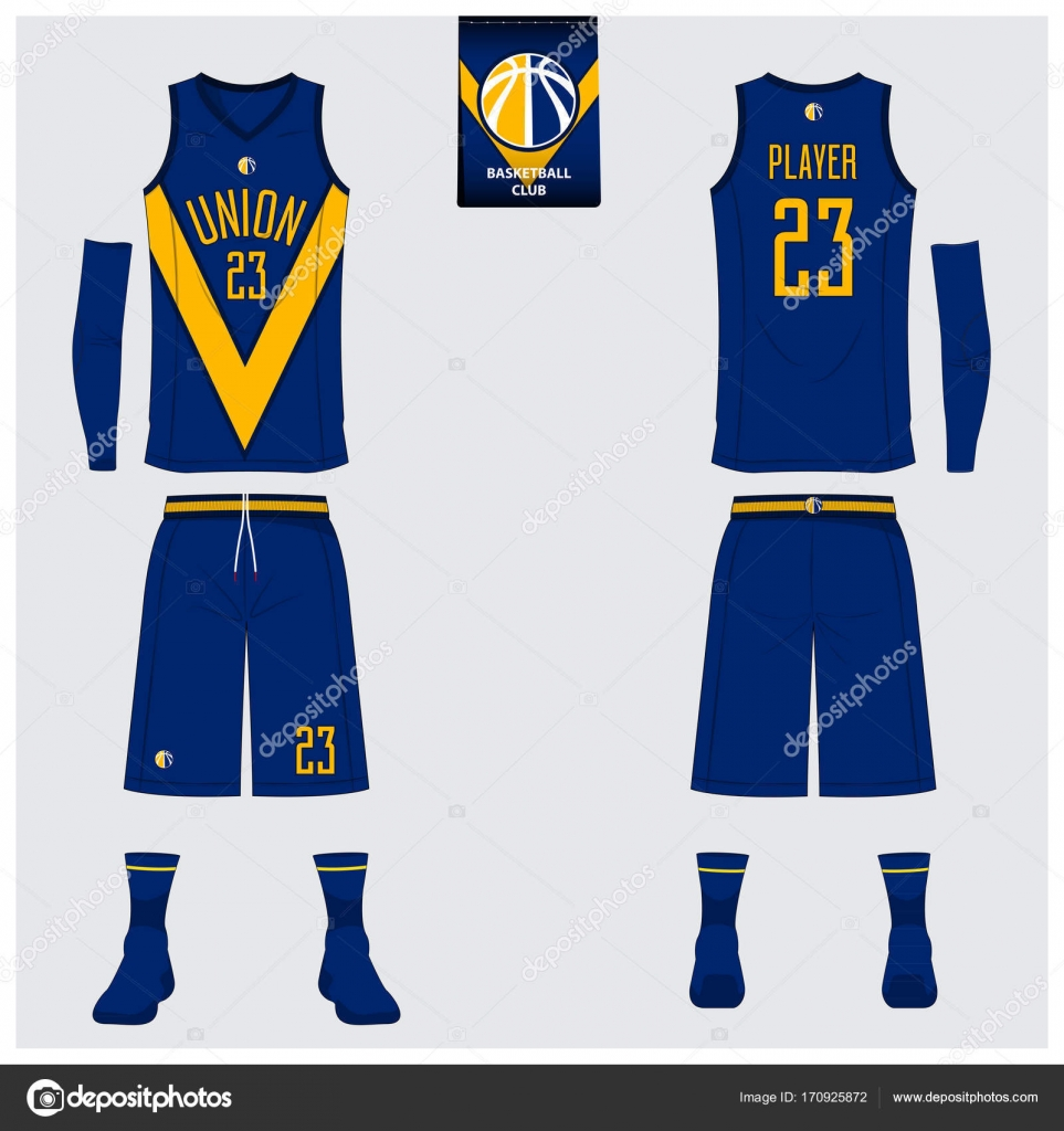 e3f05a4432f Blue and Yellow basketball uniform or jersey, shorts, socks template for  basketball club. Front and back view sport uniform. Tank top t-shirt mock  up with ...