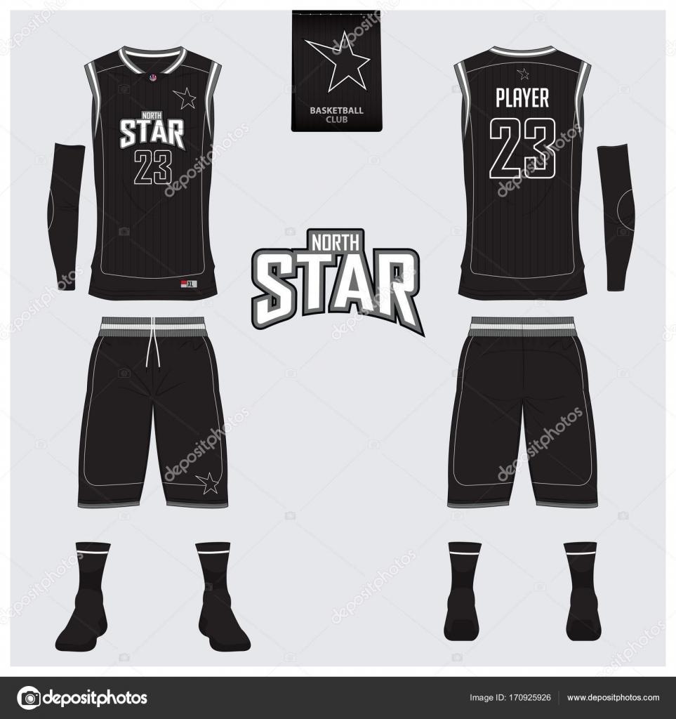 Einheitliche schwarze Basketball oder Trikot, Shorts, Socken Vorlage ...