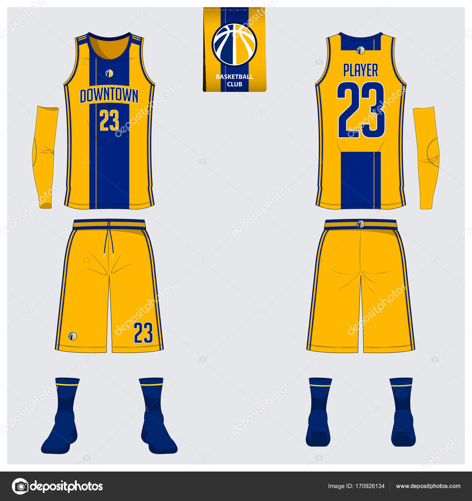 e0dd88790e7 Yellow and blue basketball uniform or jersey, shorts, socks template for  basketball club. Front and back view sport uniform. Tank top t-shirt mock  up with ...