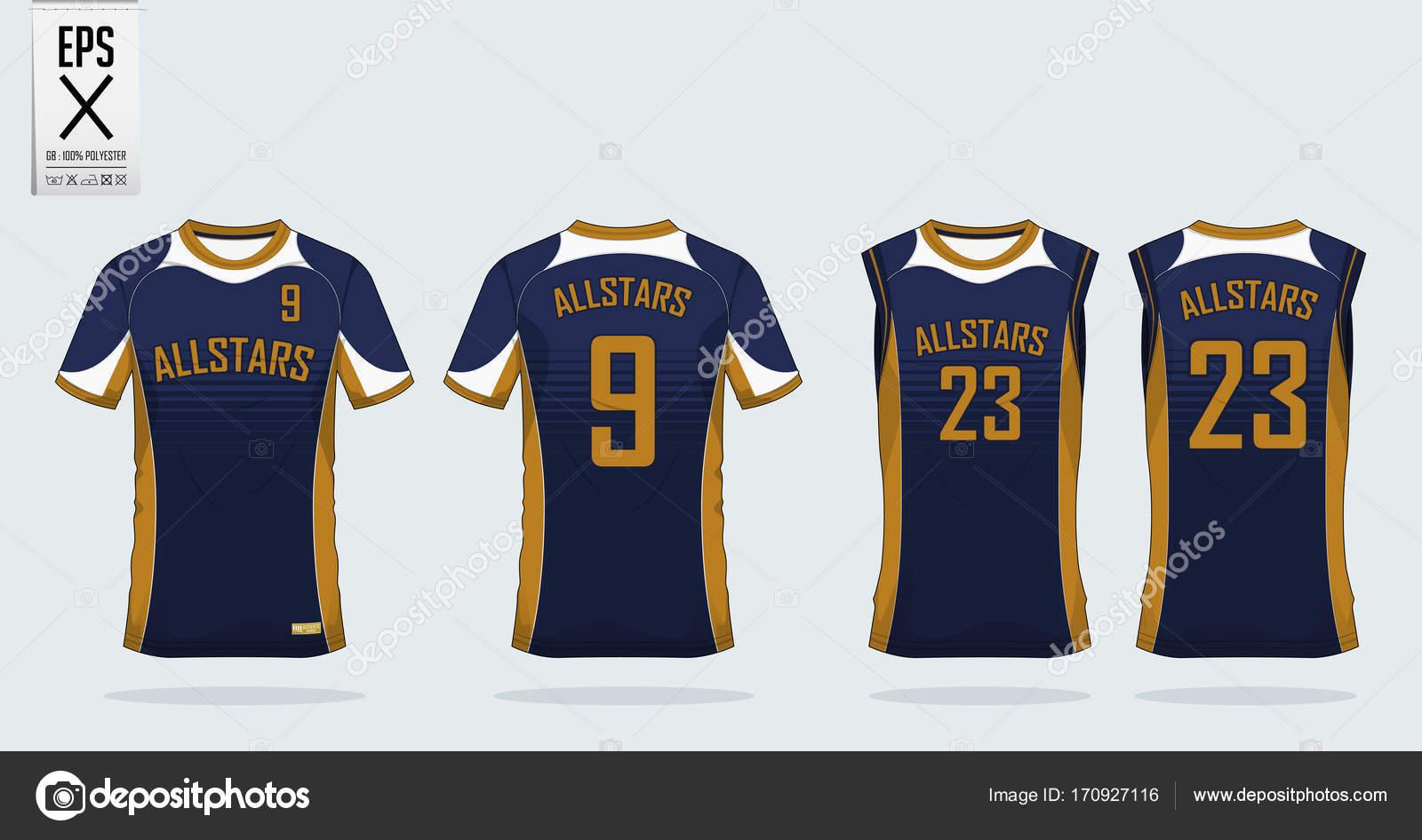 2ea57fe1a1aad Azul y oro t camisa deporte diseño una plantilla para camiseta de fútbol
