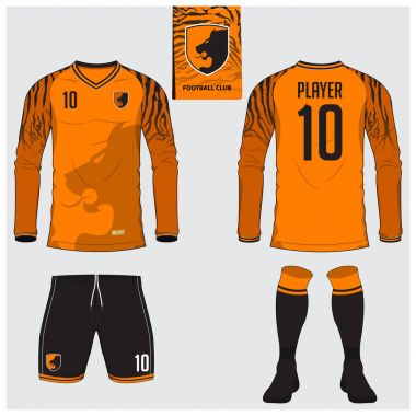 Soccer jersey or football kit, long sleeve, short, sock template for sport club. Tiger stripes football t-shirt mock up. Front, back view soccer uniform. Flat football logo label. Vector.