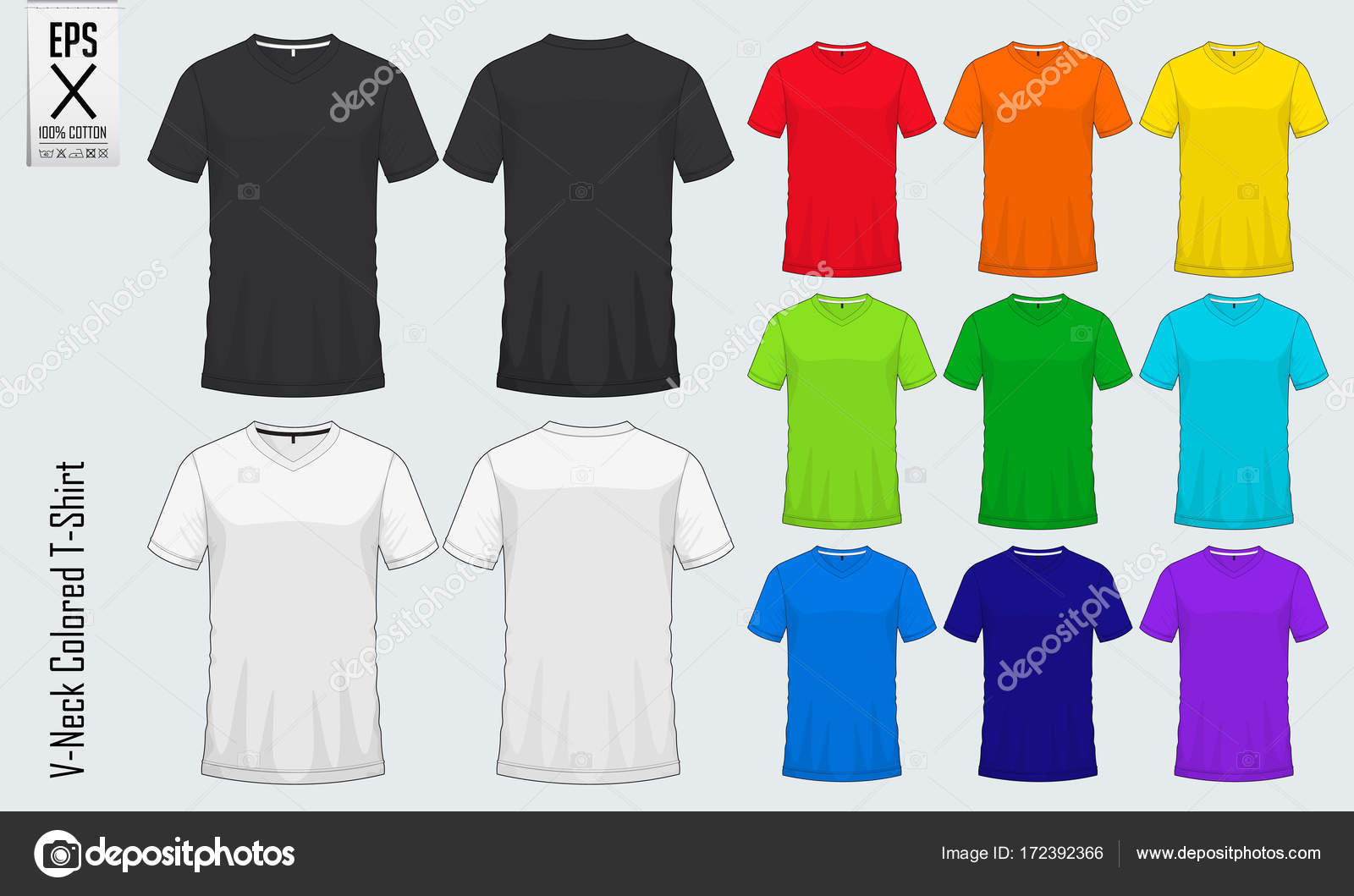 V-neck t-shirts templates. Set of colored shirt mockup in front view ...