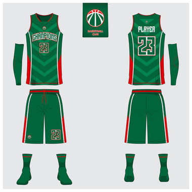 Basketball uniform template design. Tank top t-shirt mockup for basketball club. Front view and back view sport jersey. Vector.