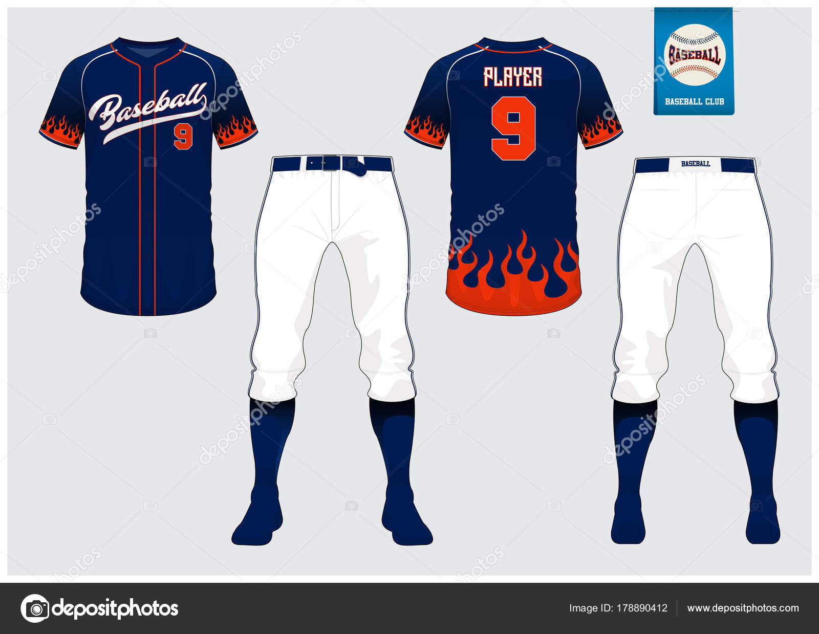 Baseball Trikot, Sport uniform, raglan T-shirt Sport, kurz, Socke ...