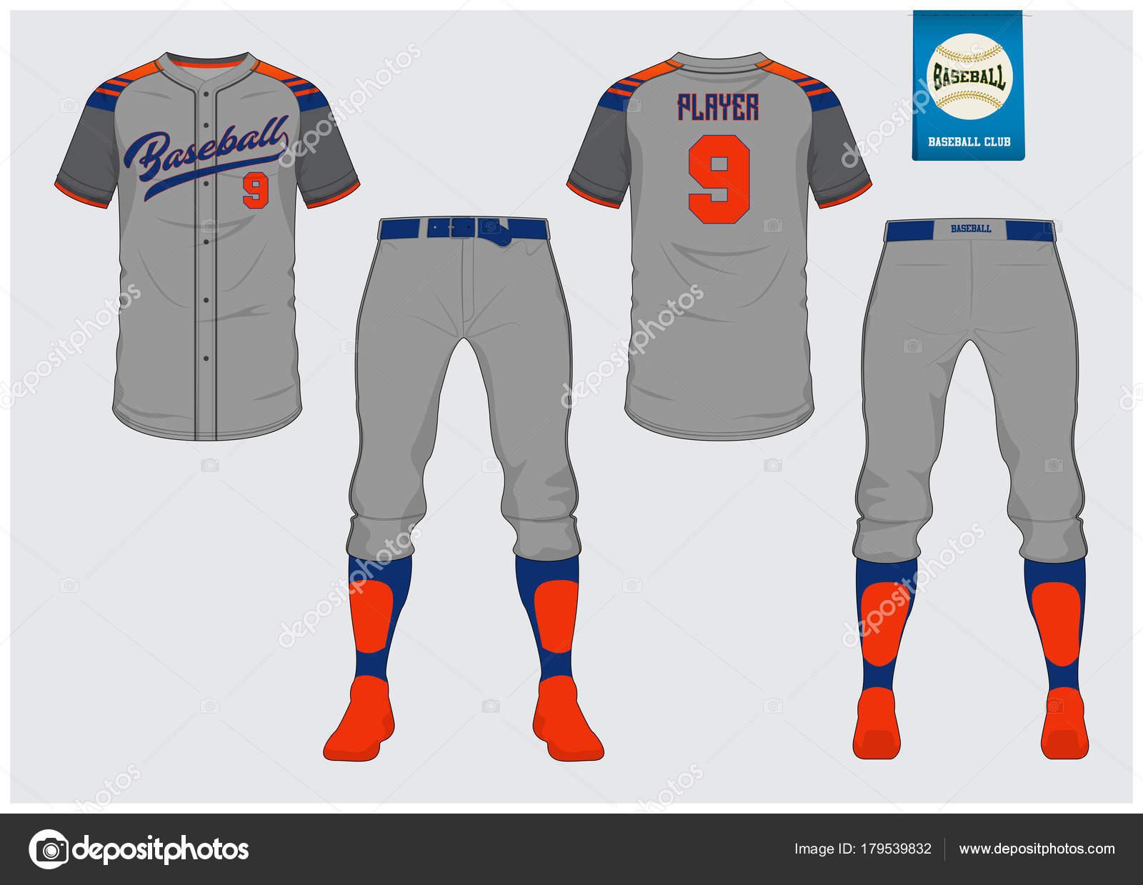 Camiseta de béisbol mock up. Frente y parte posterior vista uniforme de  béisbol. Logo de béisbol planas en etiqueta azul. 3f717d7f01b