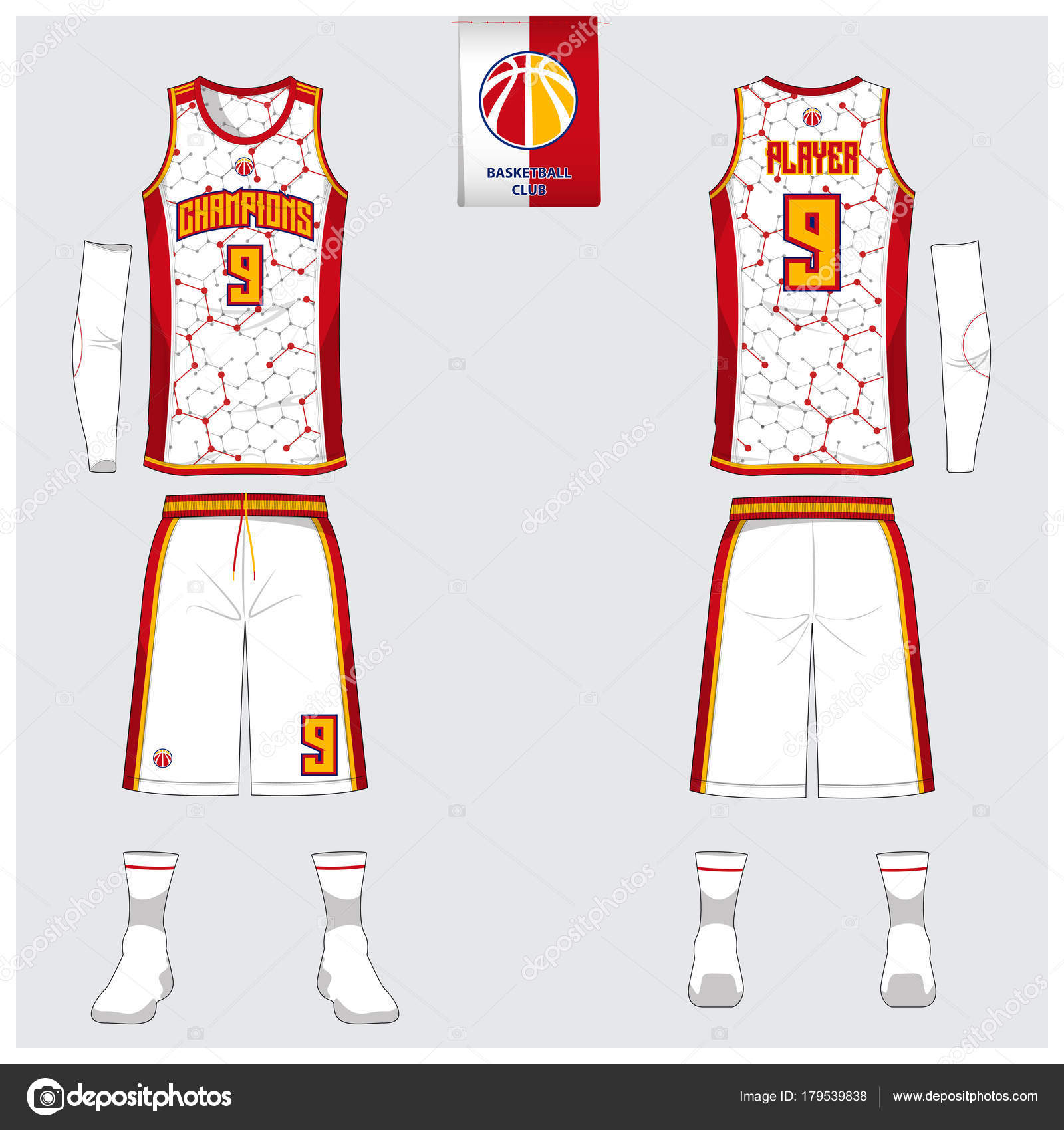Basketball uniform or sport jersey, shorts, socks template for ...
