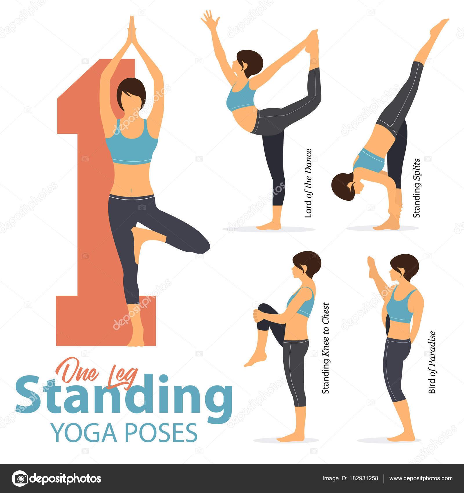 ae98923c2 Un sistema de yoga posturas figuras femeninas para infografía 5 Yoga en una  pierna que poses en diseño plano. Ejercen de figuras de mujer en ropa  deportiva ...
