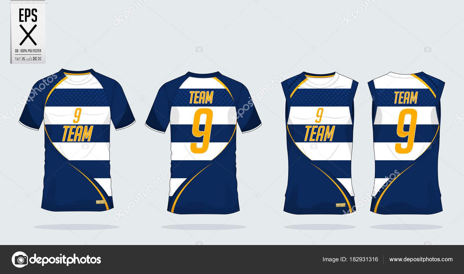 d59a249ad100d Azul y blanco camiseta deporte plantilla diseño para camiseta de fútbol