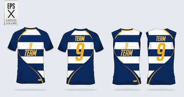 Blue and White T-shirt sport template design for soccer jersey, football kit and tank top for basketball jersey. Sport uniform in front view and back view. Sport shirt mock up for sport club. Vector