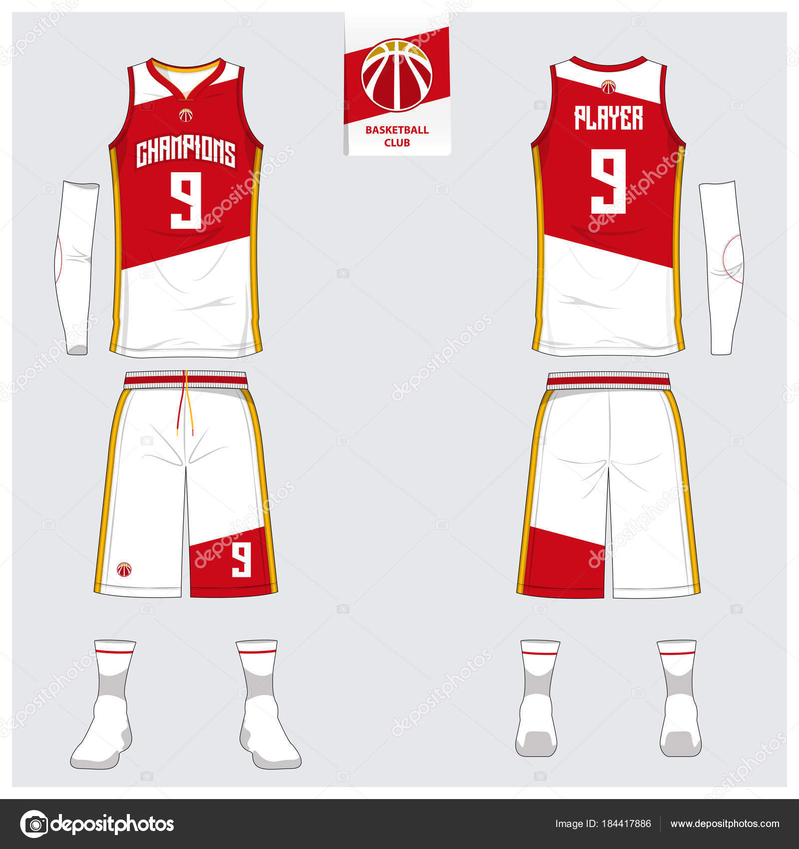 Basketballtrikot oder Sport einheitliche, Shorts, Socken Vorlage für ...