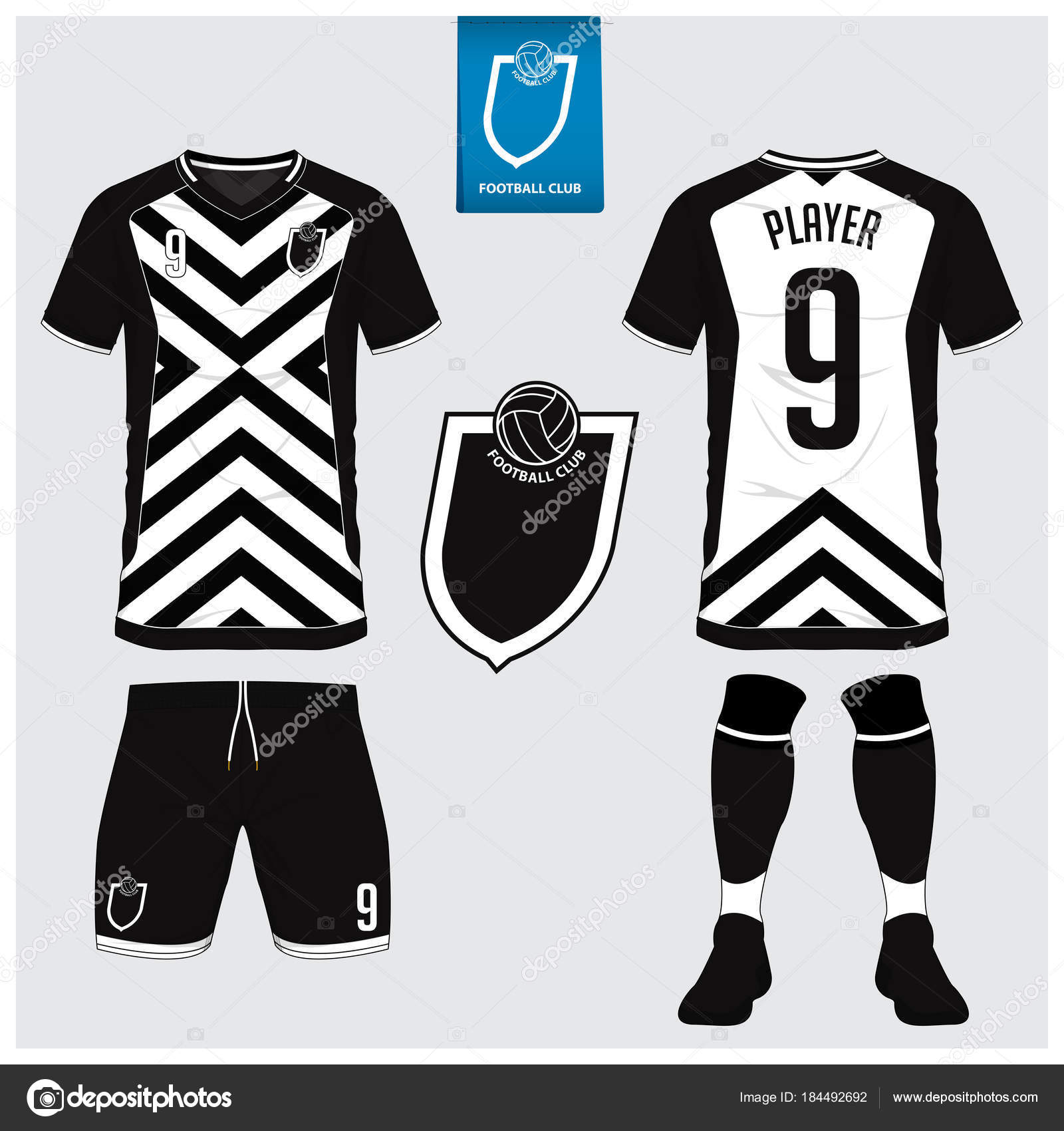 Blanco y negro fútbol camiseta falsa para arriba. Frente y parte posterior  vista uniforme del fútbol. 68ad176bccf8d