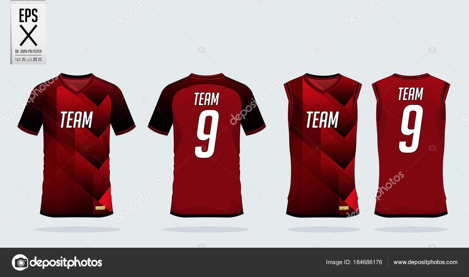 d98b6d5fed8 Red-black t-shirt sport design template for soccer jersey