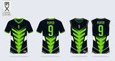 Green-black t-shirt sport design template for soccer jersey, football kit and tank top for basketball jersey. Sport uniform in front and back view. Tshirt mock up for sport club. Vector.