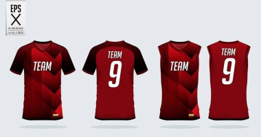 Red-black t-shirt sport design template for soccer jersey, football kit and tank top for basketball jersey. Sport uniform in front and back view. Tshirt mock up for sport club. Vector.