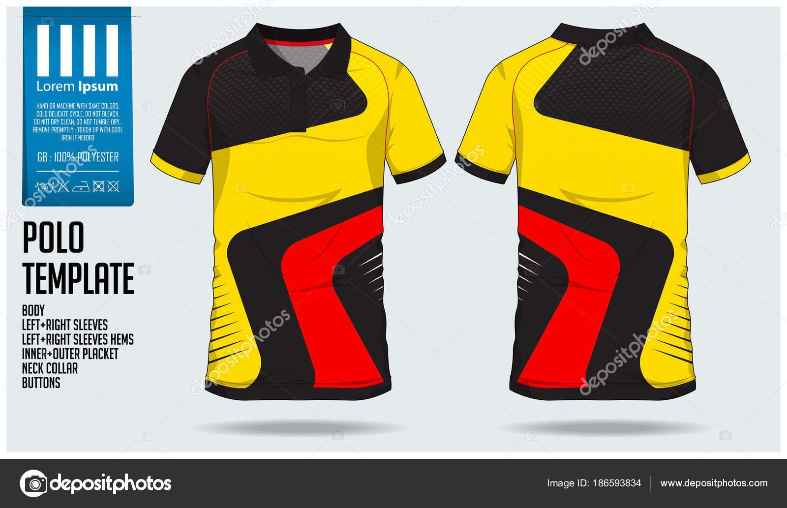 1151cf708c48c Plantilla de diseño de deporte Polo de rayas amarillo rojo t camiseta de  fútbol jersey