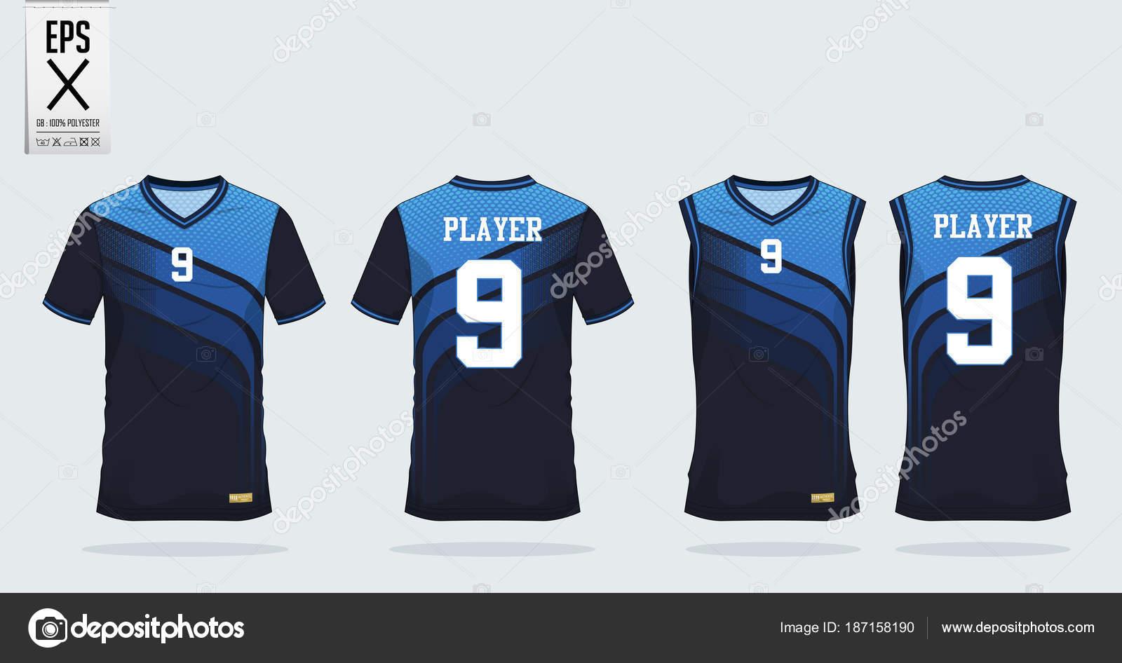 57d9e5e63 3 Shade of Blue t-shirt sport design template for soccer jersey ...