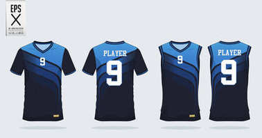 3 Shade of Blue t-shirt sport design template for soccer jersey, football kit and tank top for basketball jersey. Sport uniform in front and back view. Tshirt mock up for sport club.