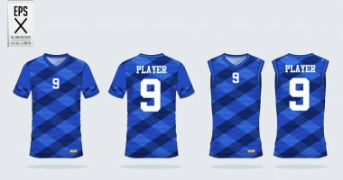 Blue Scotch pattern t-shirt sport design template for soccer jersey, football kit and tank top for basketball jersey. Sport uniform in front and back view. Tshirt mock up for sport club.