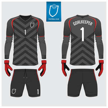 Goalkeeper jersey or soccer kit, long sleeve jersey, goalkeeper glove template design. Sport t-shirt mock up. Front and back view football uniform. Flat football logo label. Vector