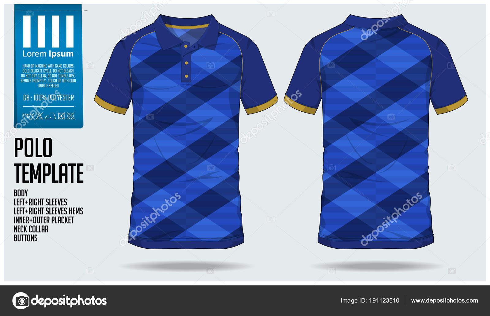 Blue Polo t-shirt sport template design for soccer jersey, football ...