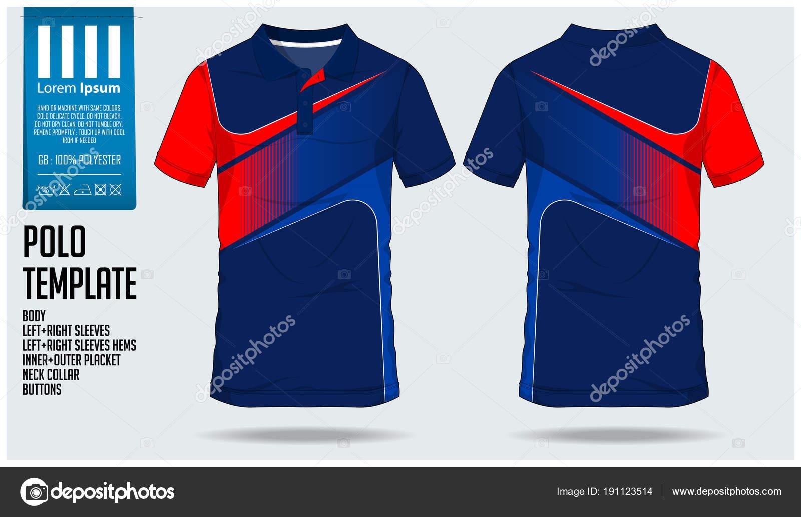 Blue Polo camiseta plantilla diseño para camiseta de fútbol 9dabcfe805511