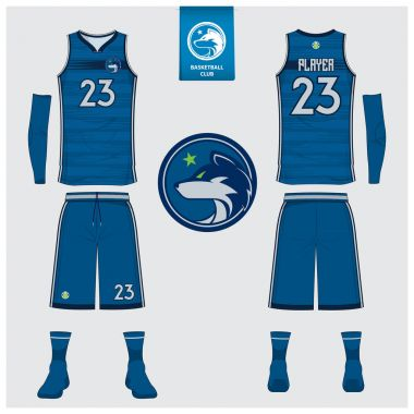 Basketball uniform or sport jersey, shorts, socks template for basketball club. Front and back view sport t-shirt design. Tank top t-shirt mock up with basketball flat logo design. Vector.