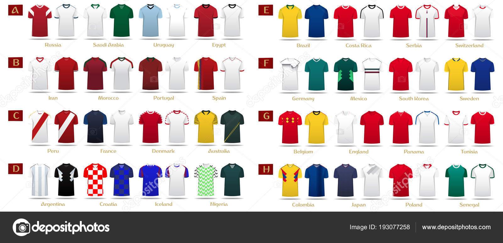 Fútbol kit o fútbol jersey diseño de plantillas para la selección de fútbol.  Hogar y lejos uniforme del fútbol en frente ven simulado para arriba. e8a911e859d71